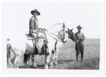 Woman on horseback with soldier