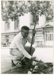Photograph of Senator Horn Planting Marigolds at the Ohio State House