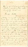 Letter from William McKinney to His Cousin Martha McKinney, October 26, 1862