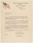 Letter, June 10, 1919 Welcome Home Executive Committee to Donald M. Wallace
