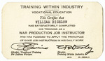 Certification Card for Vocational Education